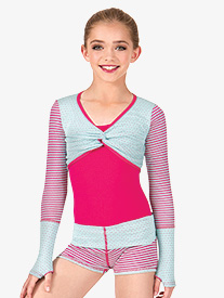 Child Dot & Stripes Long Sleeve Gathered Warmup Crop Top