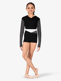 Child Dot & Stripes V-Waist Warmup Shorts
