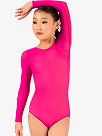 Girls Performance Sheer Mesh Long Sleeve Leotard