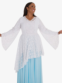 Womens Plus Drapey Lace Panel Worship Tunic