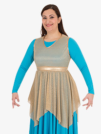 Womens Metallic Micro Pleated Worship Tunic