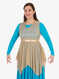 Womens Plus Metallic Micro Pleated Worship Tunic