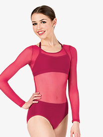 Womens Performance Sheer Mesh Long Sleeve Leotard