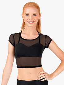Adult X-Back Short Sleeve Crop Dance Top