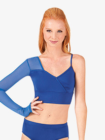 Adult Asymmetrical Faux Wrap Crop Dance Top