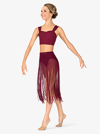 Womens Performance Sheer Mesh Fringe Skirt