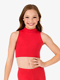 Girls Basic Mock Neck Tank Crop Top