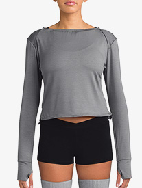 Womens Long Sleeve Warm Up Crop Top