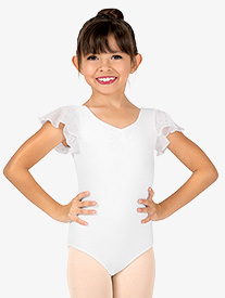Girls Scarlet Flutter Sleeve Leotard