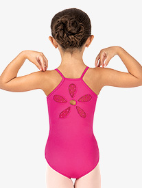 Girls Begonia Flower Cutout Back Camisole Leotard