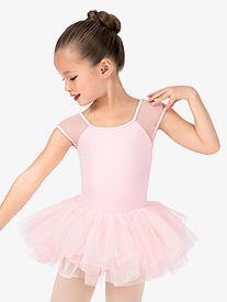 Girls Vine Flock Short Sleeve Ballet Tutu Dress