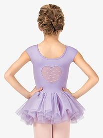 Girls Mesh Heart Back Short Sleeve Ballet Tutu Dress