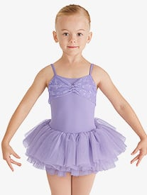 Girls Glitter Bow Camisole Ballet Tutu Dress