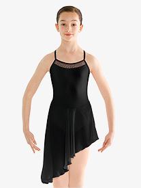 Girls Asymmetrical Mesh Camisole Ballet Dress