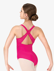 Girls Heart Mesh X-Back Tank Leotard