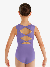 Girls Gladiolus Bow Back Tank Leotard
