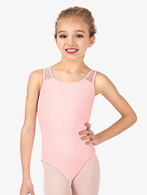 Girls Glitter Bow Straps Tank Leotard
