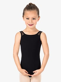 Girls Studded Pearl Tank Leotard