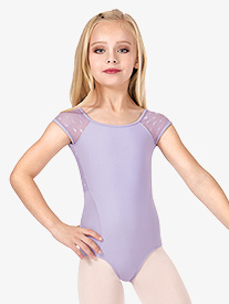 Girls Heart Mesh Back Short Sleeve Leotard