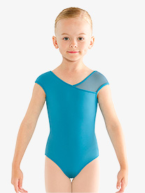 Girls Rhinestone Asymmetrical Cap Sleeve Leotard