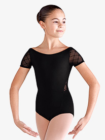 Girls Diamond Heart Mesh Back Keyhole Leotard