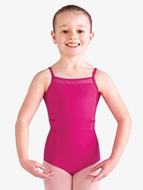 Girls Diamond Heart Mesh Camisole Leotard