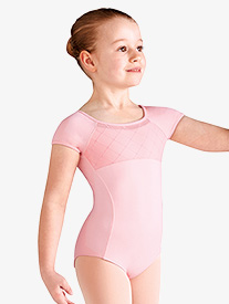 Girls Diamond Heart Mesh Short Sleeve Leotard