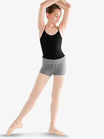Girls Cable Knit Foldover Warm Up Shorts