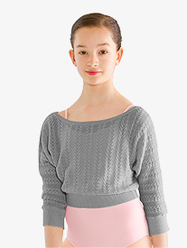 Girls Cable Knit 3/4 Sleeve Warm Up Sweater