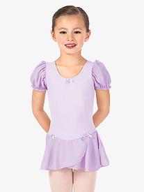 Girls Puff Short Sleeve Ballet Dress