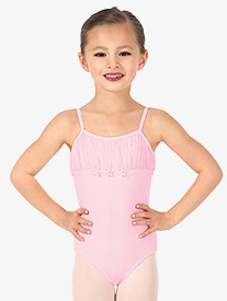 Girls Pleated Front Camisole Leotard
