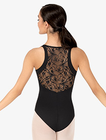 Womens Swirl Lace Shirred Wrap Front Tank Leotard