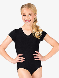 Girls Ribbed V-Front Cap Sleeve Leotard