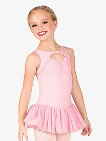 Girls Ballet Lace Back Ruffled Tank Dress