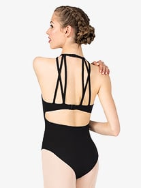 Womens Strappy Detail Open Back Halter Leotard