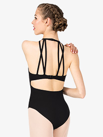 Girls Strappy Detail Open Back Halter Leotard
