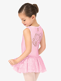 Girls Lace Heart Back Tank Ballet Dress
