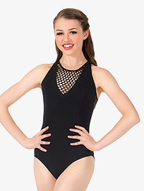 Girls Fishnet Mesh Back Cutout Tank Leotard