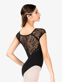 Womens Swirl Lace V-Front Cap Sleeve Leotard