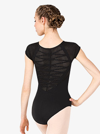 Womens Athletic Mesh V-Front Cap Sleeve Leotard