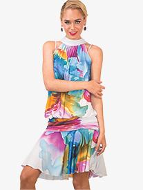 Womens Jackie Mock Neck Halter Ballroom Dress