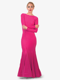 Womens Draped Back Long Ballroom Dress