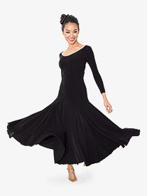 Womens Back Cutout Long Ballroom Dance Dress