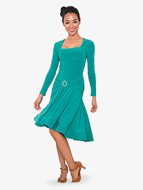 Womens Square Front Short Ballroom Dance Dress
