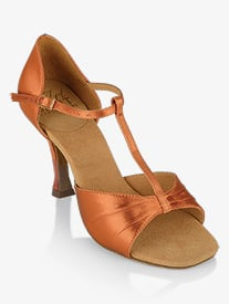 Womens Frost T-Strap Satin Ballroom Dance Shoes