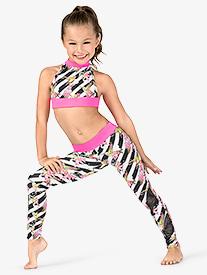 Girls Floral Stripe Dance Leggings