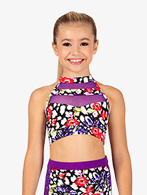 Girls Leopard Floral Dance Bra Top