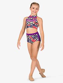 Girls Leopard Floral Dance Briefs