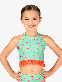 Girls Flamingo Print Halter Dance Crop Top