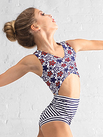 Girls Nautical Stripe & Flower Tank Leotard